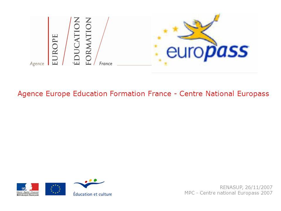RENASUP, 26/11/2007 MPC - Centre national Europass 2007 Agence Europe Education Formation France - Centre National Europass