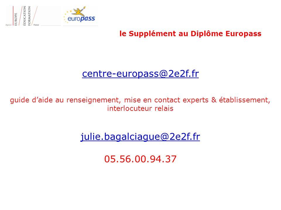 le Supplément au Diplôme Europass centre-europass@2e2f.fr guide daide au renseignement, mise en contact experts & établissement, interlocuteur relais julie.bagalciague@2e2f.fr 05.56.00.94.37