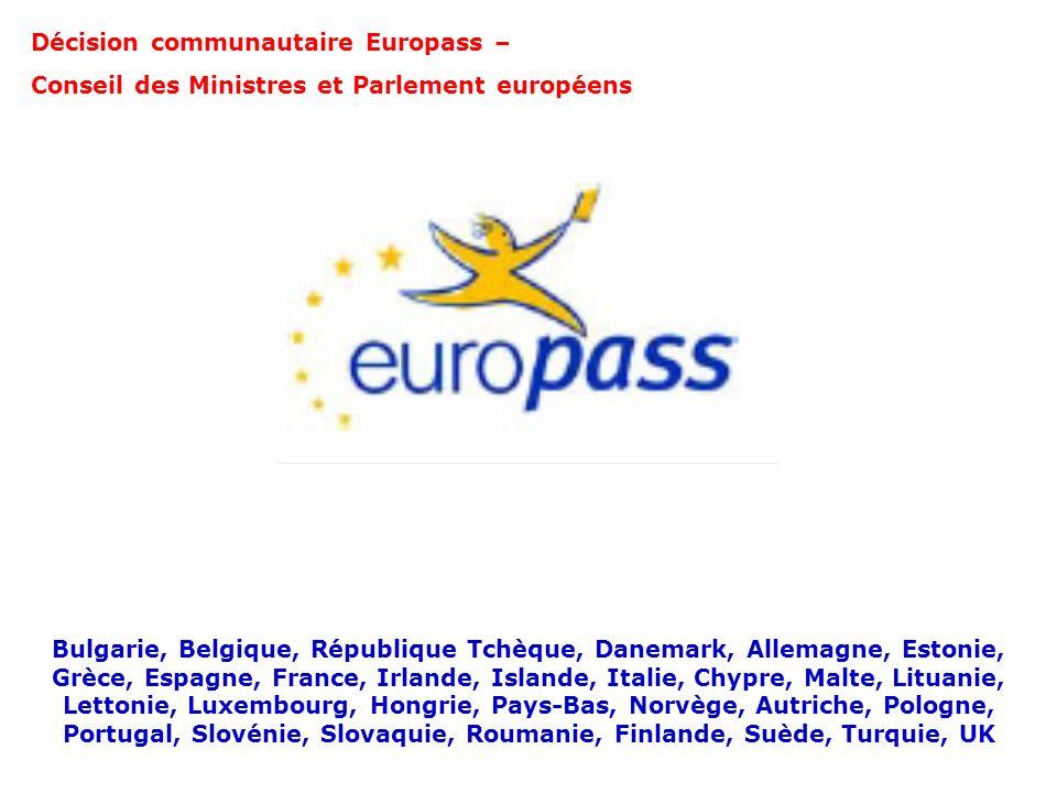 Décision communautaire Europass – Conseil des Ministres et Parlement européens Bulgarie, Belgique, République Tchèque, Danemark, Allemagne, Estonie, G