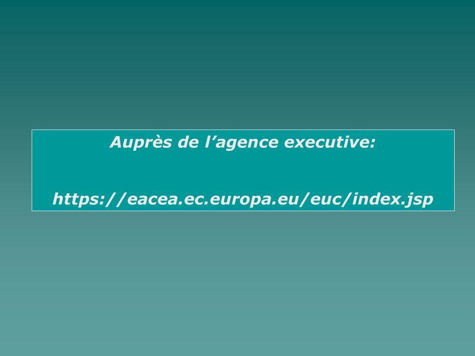 Auprès de lagence executive: