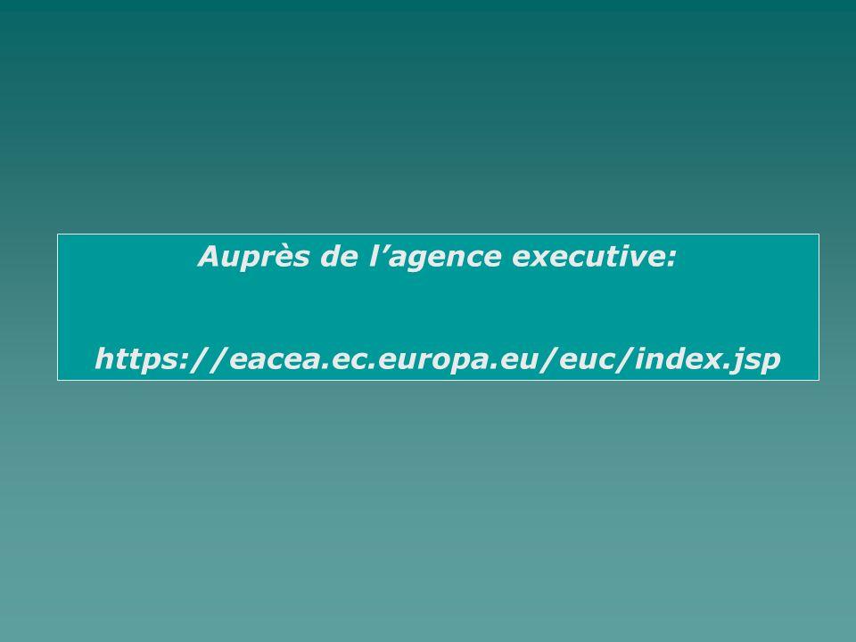 Auprès de lagence executive: https://eacea.ec.europa.eu/euc/index.jsp