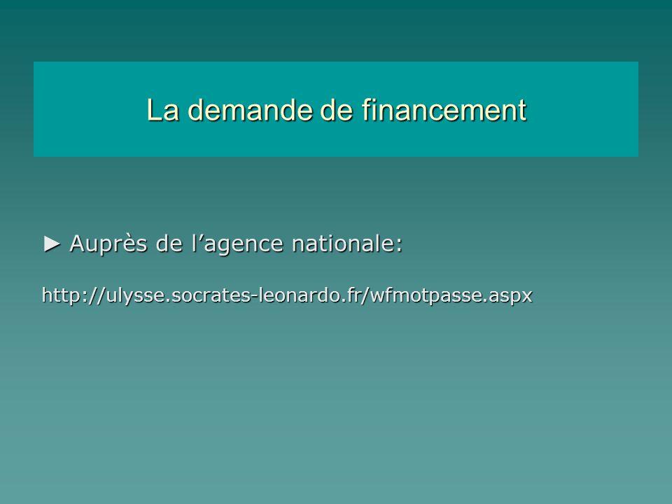 La demande de financement Auprès de lagence nationale: Auprès de lagence nationale:http://ulysse.socrates-leonardo.fr/wfmotpasse.aspx