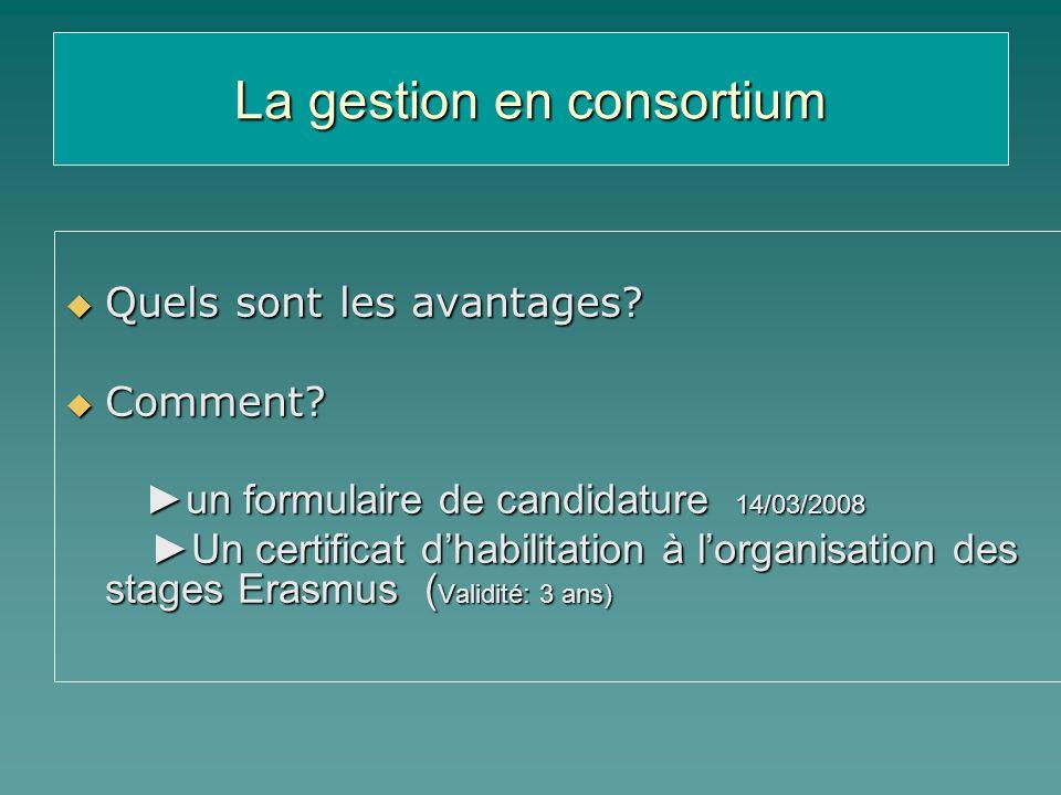 La gestion en consortium Quels sont les avantages? Quels sont les avantages? Comment? Comment? un formulaire de candidature 14/03/2008 un formulaire d