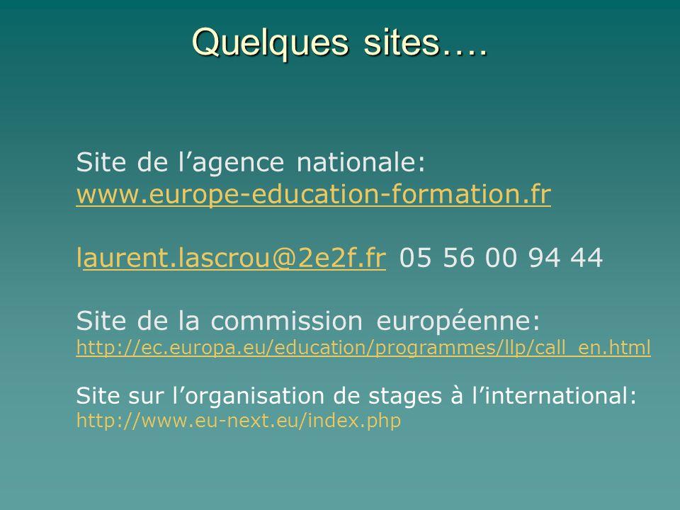 Quelques sites…. Site de lagence nationale: www.europe-education-formation.fr laurent.lascrou@2e2f.fr 05 56 00 94 44aurent.lascrou@2e2f.fr Site de la
