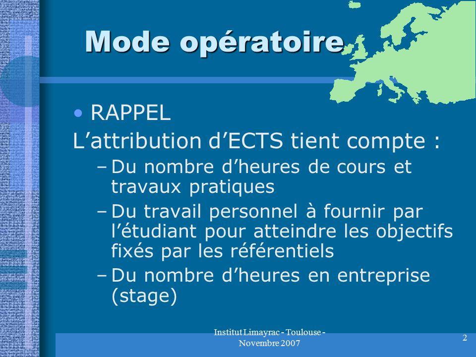 Institut Limayrac - Toulouse - Novembre 2007 2 Mode opératoire RAPPEL Lattribution dECTS tient compte : –Du nombre dheures de cours et travaux pratiqu