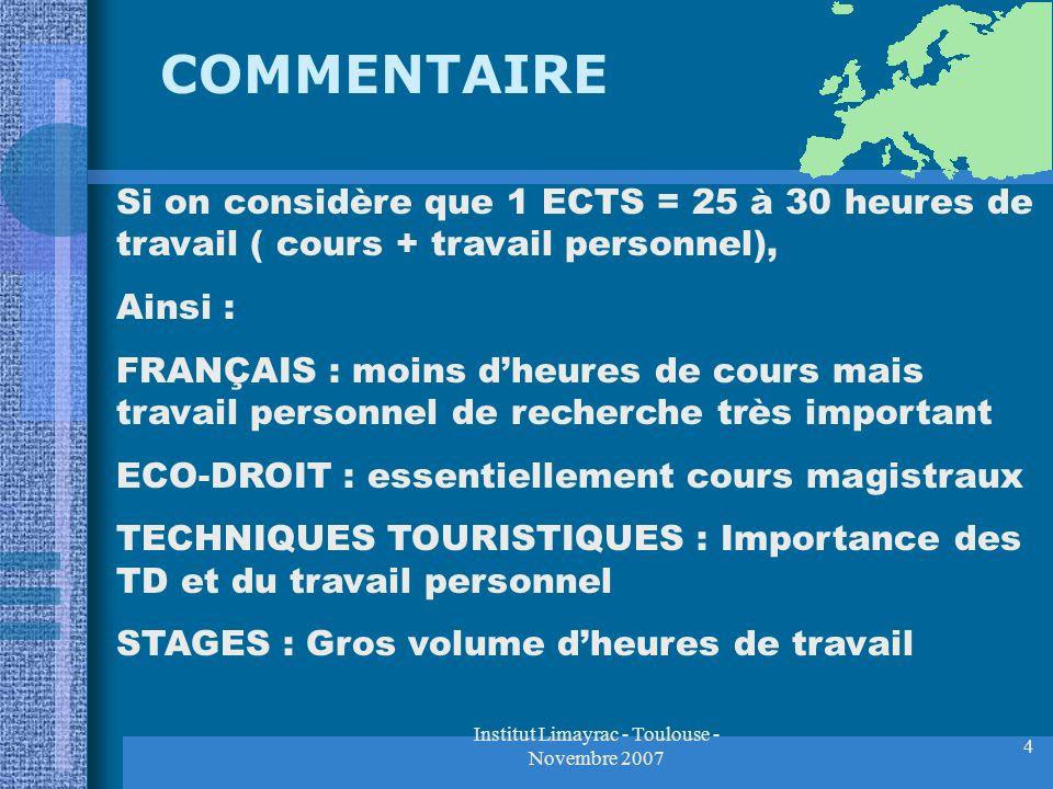Institut Limayrac - Toulouse - Novembre 2007 4 COMMENTAIRE Si on considère que 1 ECTS = 25 à 30 heures de travail ( cours + travail personnel), Ainsi
