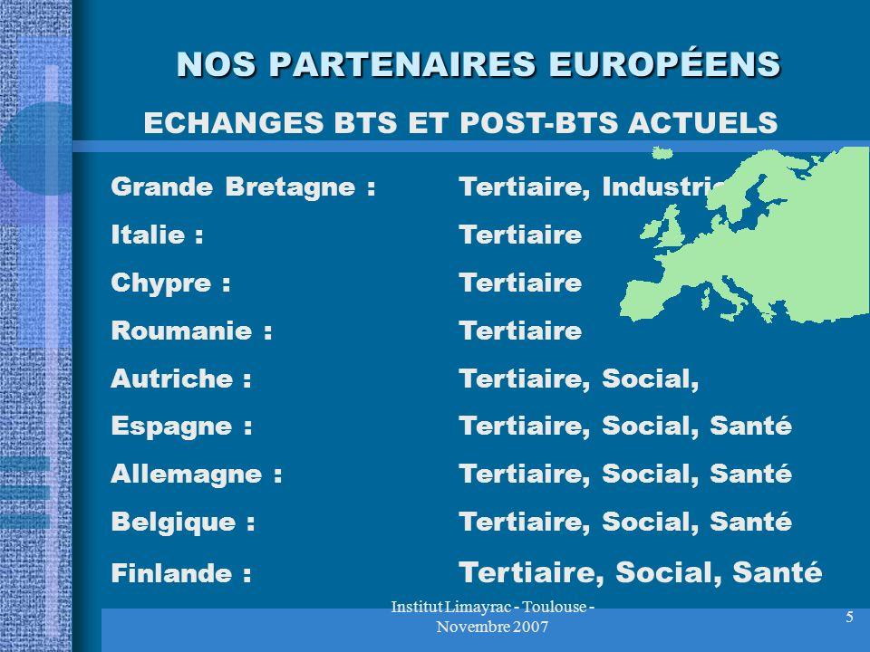 Institut Limayrac - Toulouse - Novembre 2007 5 NOS PARTENAIRES EUROPÉENS Grande Bretagne :Tertiaire, Industriel Italie :Tertiaire Chypre :Tertiaire Ro