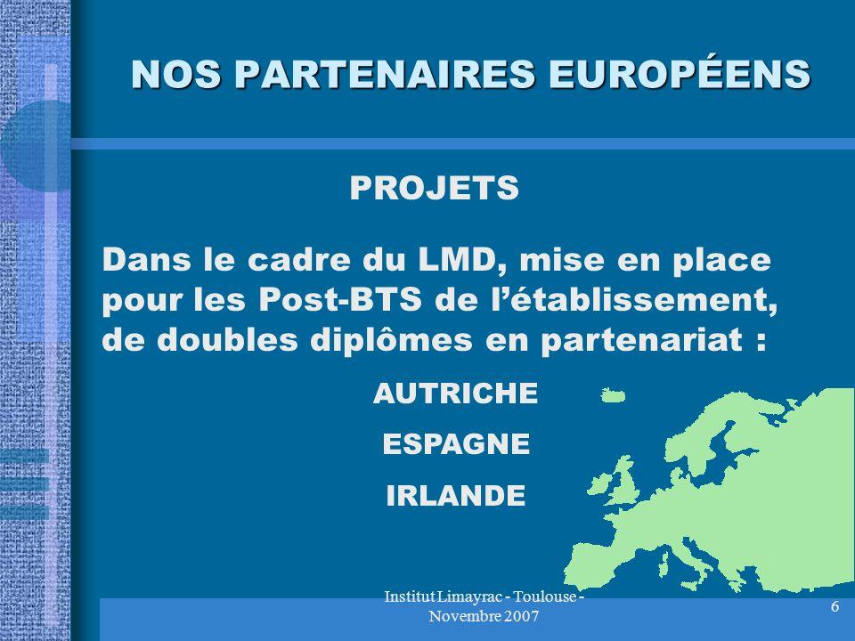 Institut Limayrac - Toulouse - Novembre 2007 6 NOS PARTENAIRES EUROPÉENS PROJETS Dans le cadre du LMD, mise en place pour les Post-BTS de létablisseme