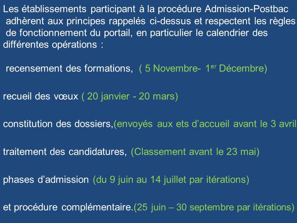 Les établissements participant à la procédure Admission-Postbac adhèrent aux principes rappelés ci-dessus et respectent les règles de fonctionnement d