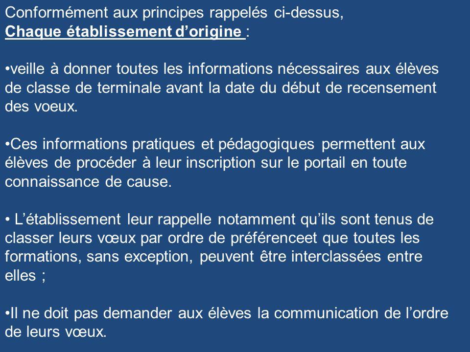 Conformément aux principes rappelés ci-dessus, Chaque établissement dorigine : veille à donner toutes les informations nécessaires aux élèves de class