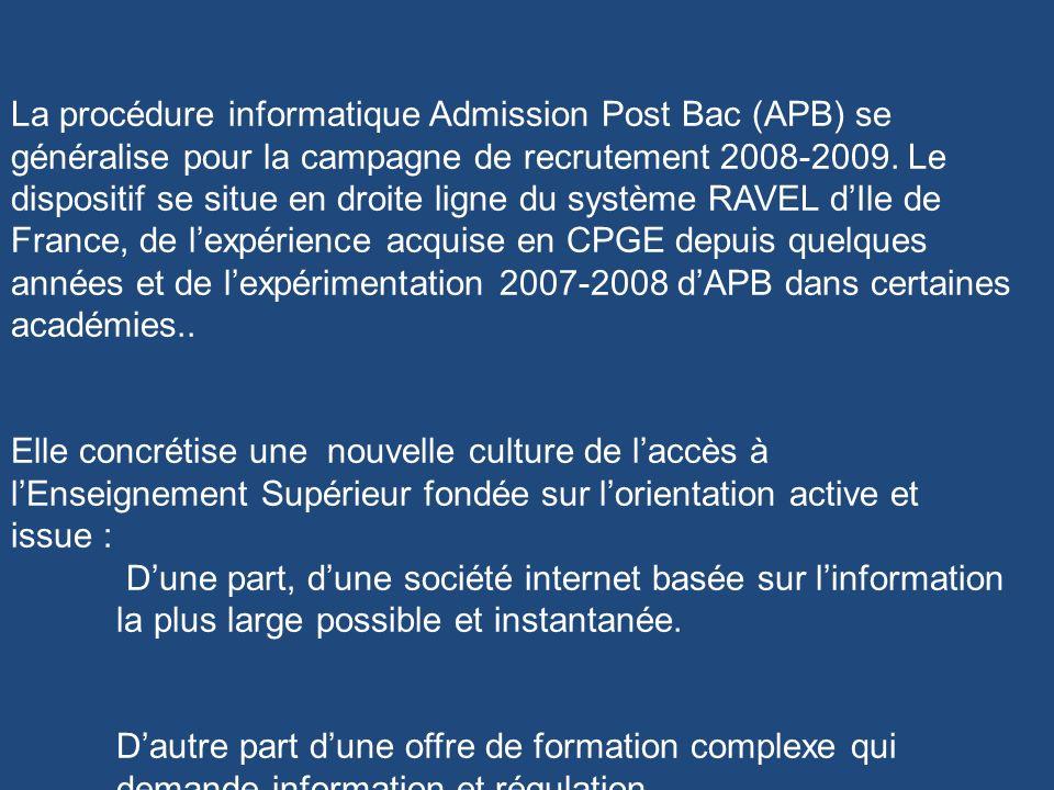 La procédure informatique Admission Post Bac (APB) se généralise pour la campagne de recrutement 2008-2009. Le dispositif se situe en droite ligne du