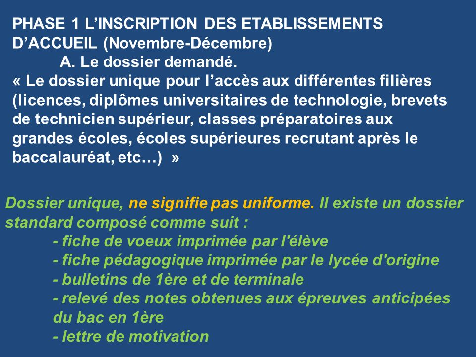 PHASE 1 LINSCRIPTION DES ETABLISSEMENTS DACCUEIL (Novembre-Décembre) A.