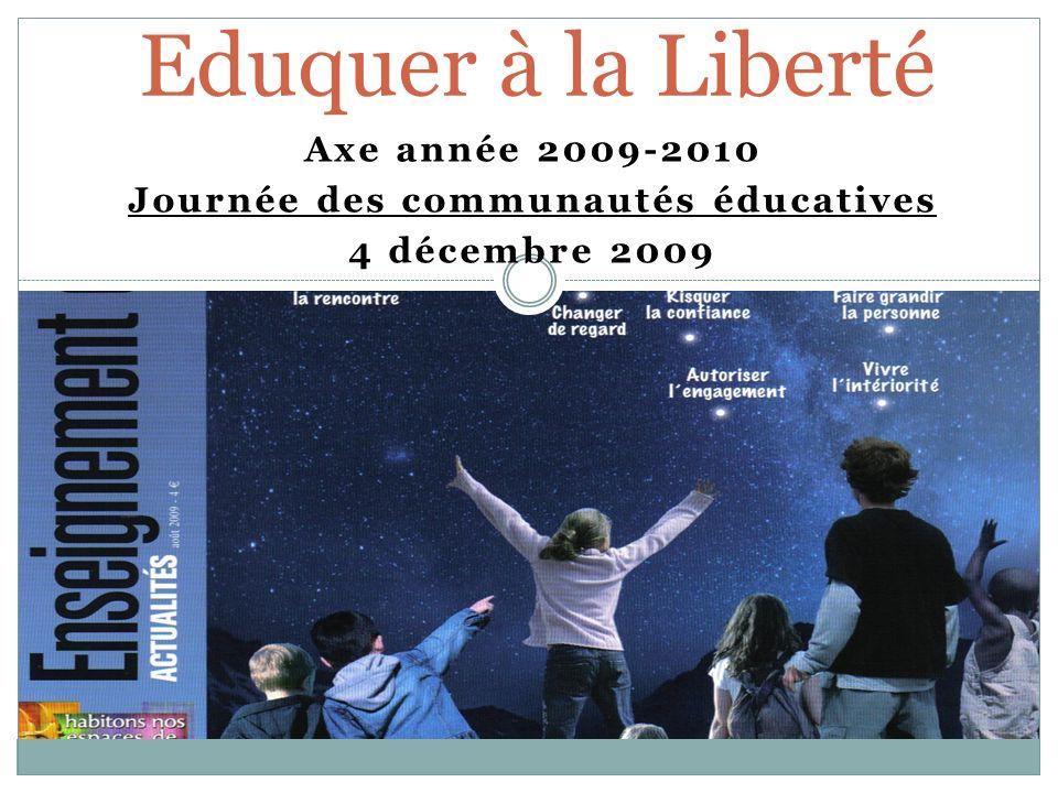 Axe année 2009-2010 Journée des communautés éducatives 4 décembre 2009 Eduquer à la Liberté