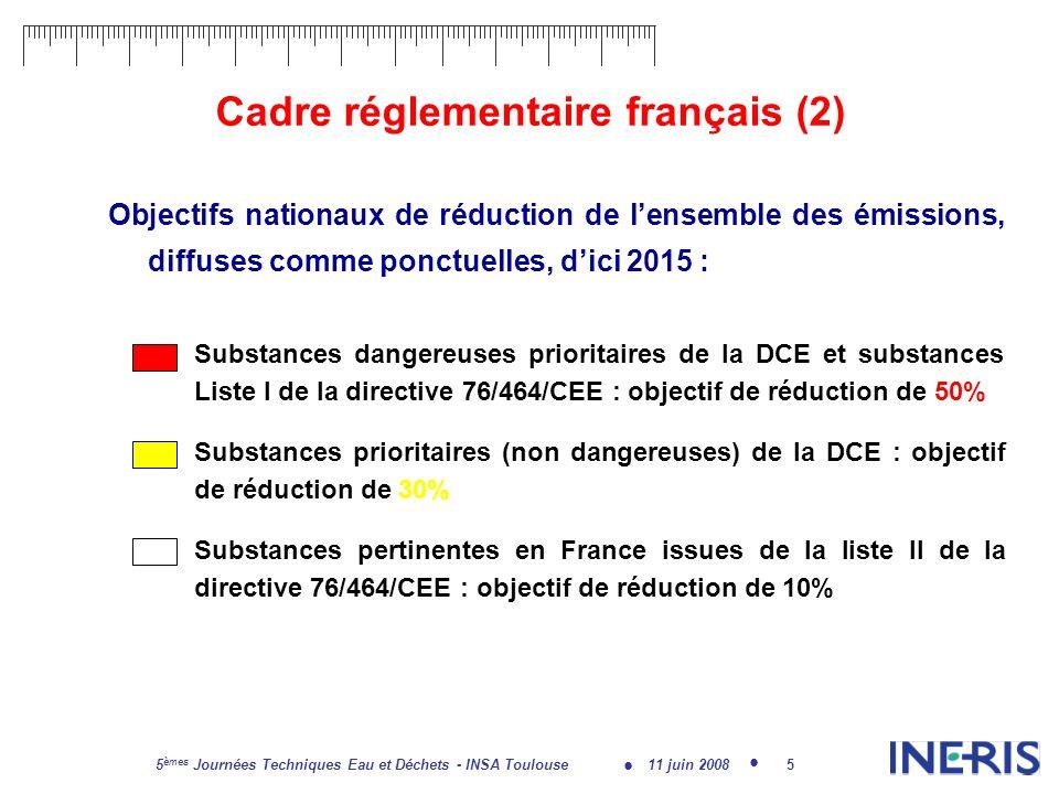 11 juin 2008 5 èmes Journées Techniques Eau et Déchets - INSA Toulouse 6 Objectifs de laction RSDE Mise en œuvre par circulaire ministérielle de 2002 à 2007 Objectif principal: Améliorer la connaissance des sources ponctuelles de substances dangereuses Visait les rejets des ICPE parmi 13 secteurs dactivités puis action étendue aux STEP urbaines, hôpitaux Recherche systématique de 106 substances dont les 33 de la DCE et une partie des substances de la Directive 76/464/CEE Fondée sur le volontariat des industriels pas une action de contrôle réglementaire