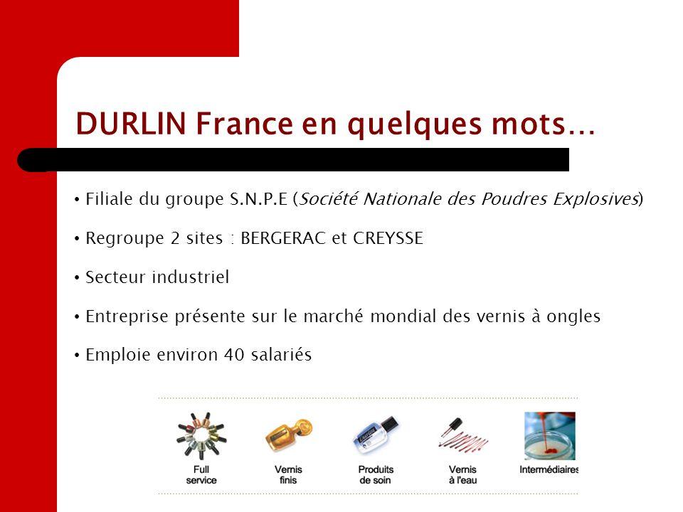 DURLIN France en quelques mots… Filiale du groupe S.N.P.E (Société Nationale des Poudres Explosives) Regroupe 2 sites : BERGERAC et CREYSSE Secteur in