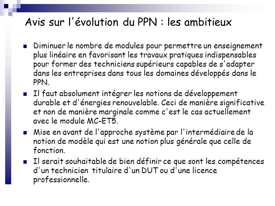 Avis sur l'évolution du PPN : les ambitieux Diminuer le nombre de modules pour permettre un enseignement plus linéaire en favorisant les travaux prati
