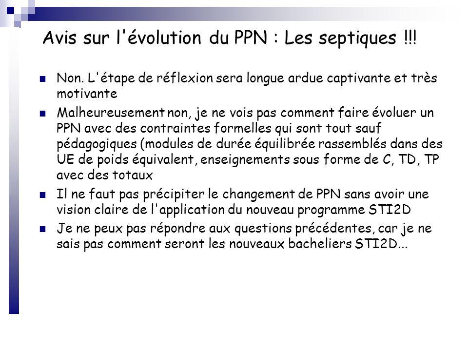Avis sur l'évolution du PPN : Les septiques !!! Non. L'étape de réflexion sera longue ardue captivante et très motivante Malheureusement non, je ne vo