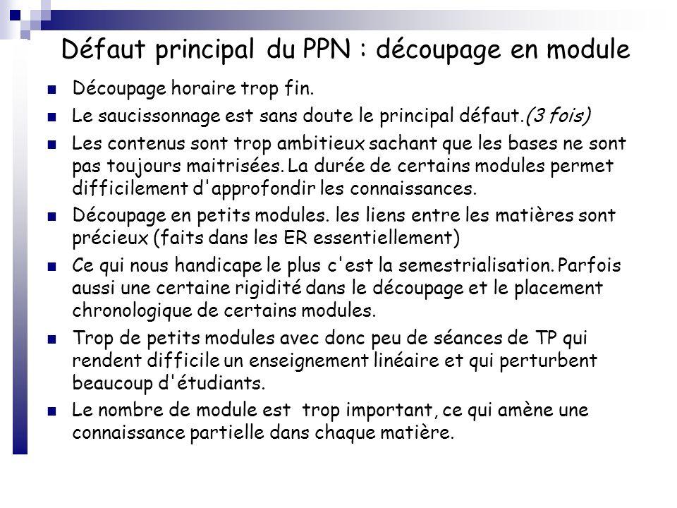 Défaut principal du PPN : découpage en module La modularisation associée à la semestrialisation empêche une acquisition progressive des thèmes étudiés : chaque module doit être positionné chronologiquement avec toutes ses formes pédagogiques (C, TD, TP).