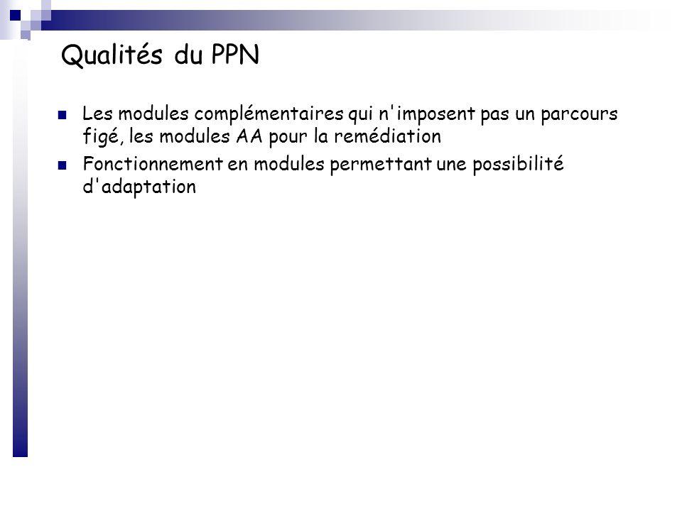Qualités du PPN Les modules complémentaires qui n'imposent pas un parcours figé, les modules AA pour la remédiation Fonctionnement en modules permetta