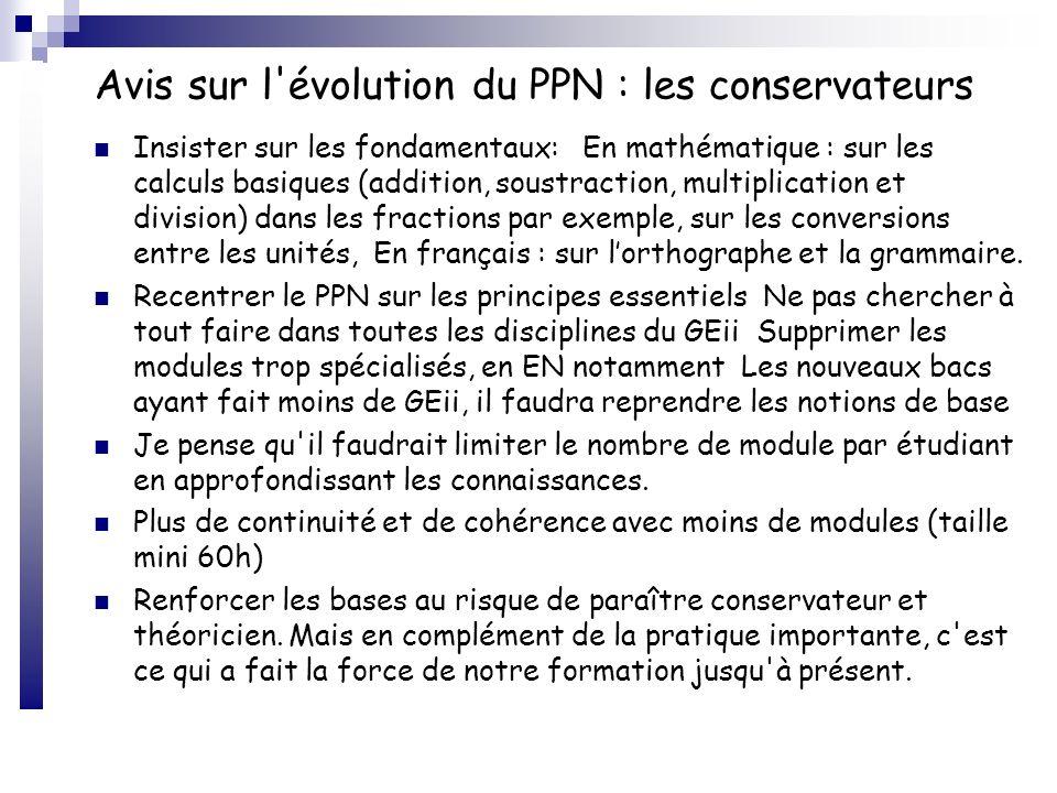Avis sur l'évolution du PPN : les conservateurs Insister sur les fondamentaux: En mathématique : sur les calculs basiques (addition, soustraction, mul