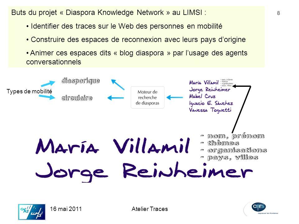 8 16 mai 2011Atelier Traces Buts du projet « Diaspora Knowledge Network » au LIMSI : Identifier des traces sur le Web des personnes en mobilité Construire des espaces de reconnexion avec leurs pays dorigine Animer ces espaces dits « blog diaspora » par lusage des agents conversationnels Types de mobilité