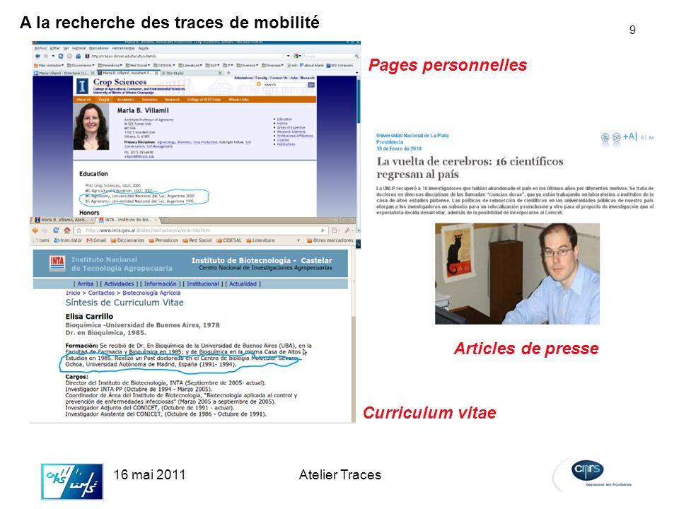 9 16 mai 2011Atelier Traces Pages personnelles A la recherche des traces de mobilité Curriculum vitae Articles de presse