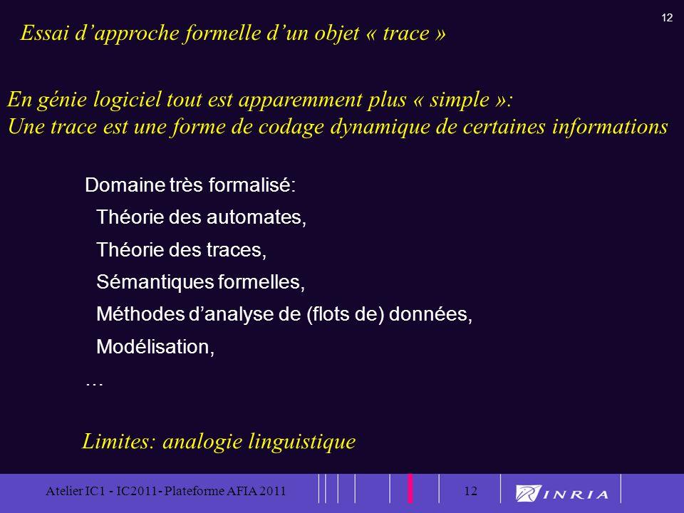 12 Atelier IC1 - IC2011- Plateforme AFIA 201112 Domaine très formalisé: Théorie des automates, Théorie des traces, Sémantiques formelles, Méthodes dan