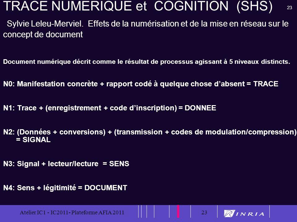 23 Atelier IC1 - IC2011- Plateforme AFIA 201123 TRACE NUMERIQUE et COGNITION (SHS) Sylvie Leleu-Merviel. Effets de la numérisation et de la mise en ré