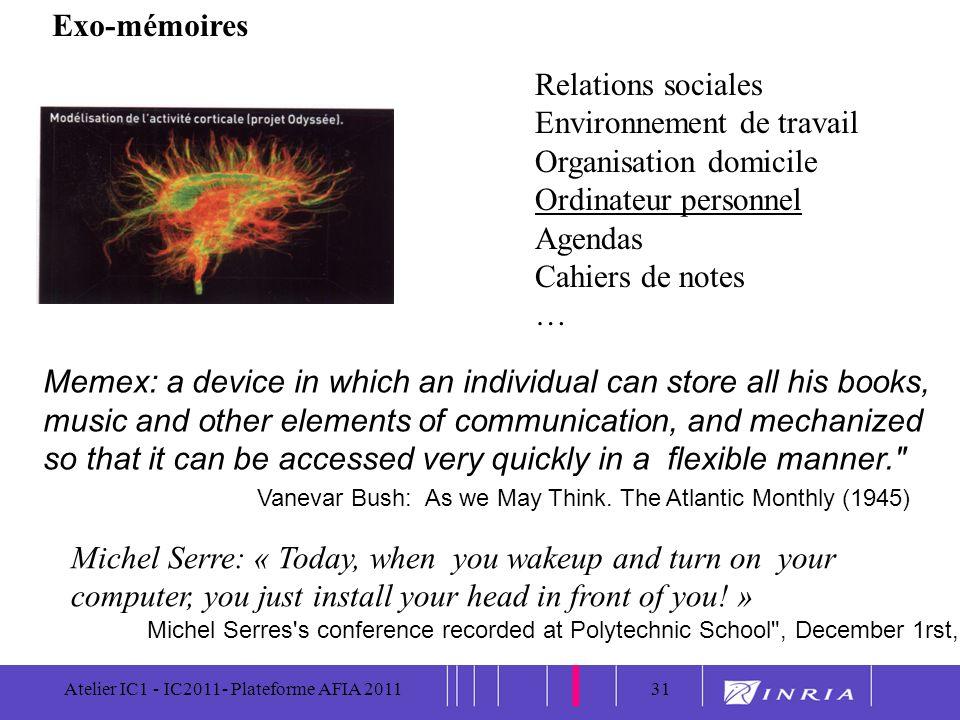 31 Atelier IC1 - IC2011- Plateforme AFIA 201131 Exo-mémoires Relations sociales Environnement de travail Organisation domicile Ordinateur personnel Ag