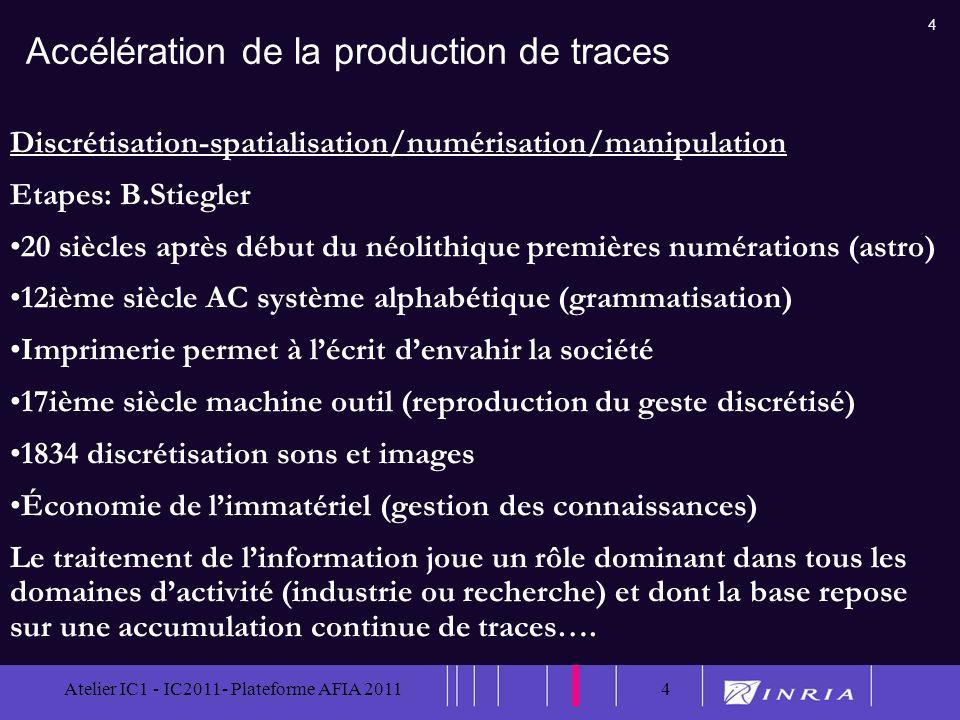 4 Atelier IC1 - IC2011- Plateforme AFIA 20114 Accélération de la production de traces Discrétisation-spatialisation/numérisation/manipulation Etapes: