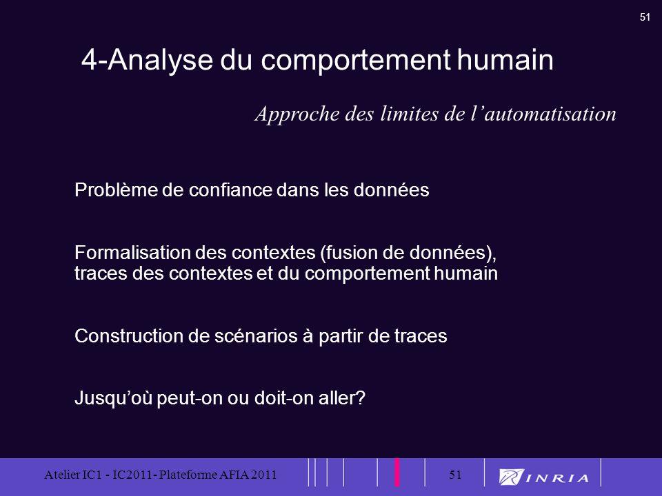 51 Atelier IC1 - IC2011- Plateforme AFIA 201151 4-Analyse du comportement humain Problème de confiance dans les données Formalisation des contextes (f