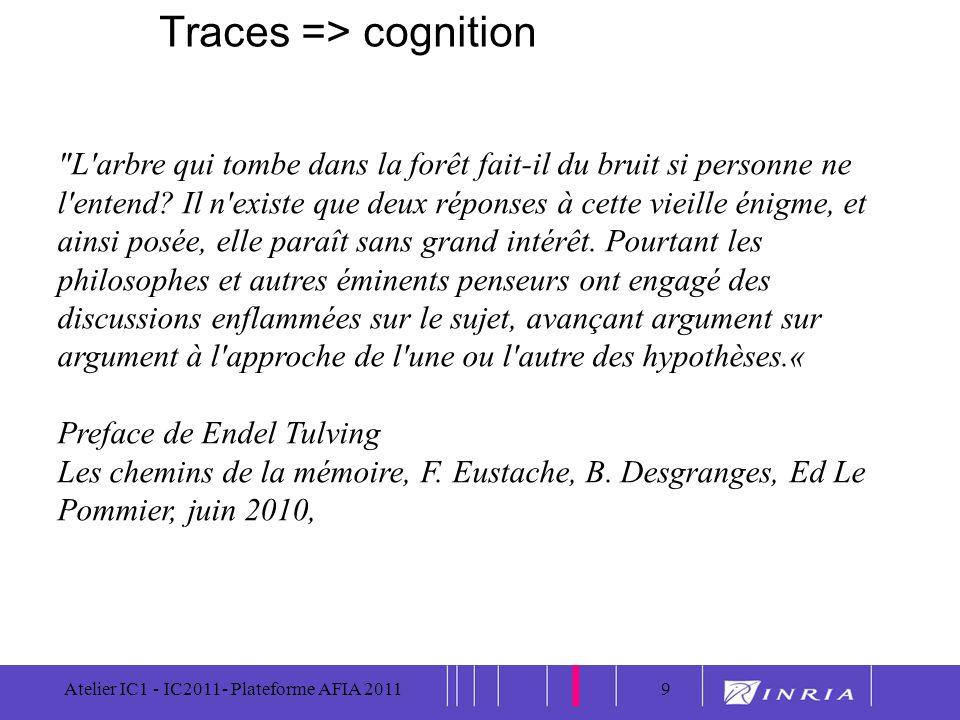 9 Atelier IC1 - IC2011- Plateforme AFIA 20119 Traces => cognition