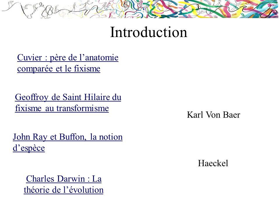Cuvier : père de lanatomie comparée et le fixisme Geoffroy de Saint Hilaire du fixisme au transformisme Charles Darwin : La théorie de lévolutionCharl