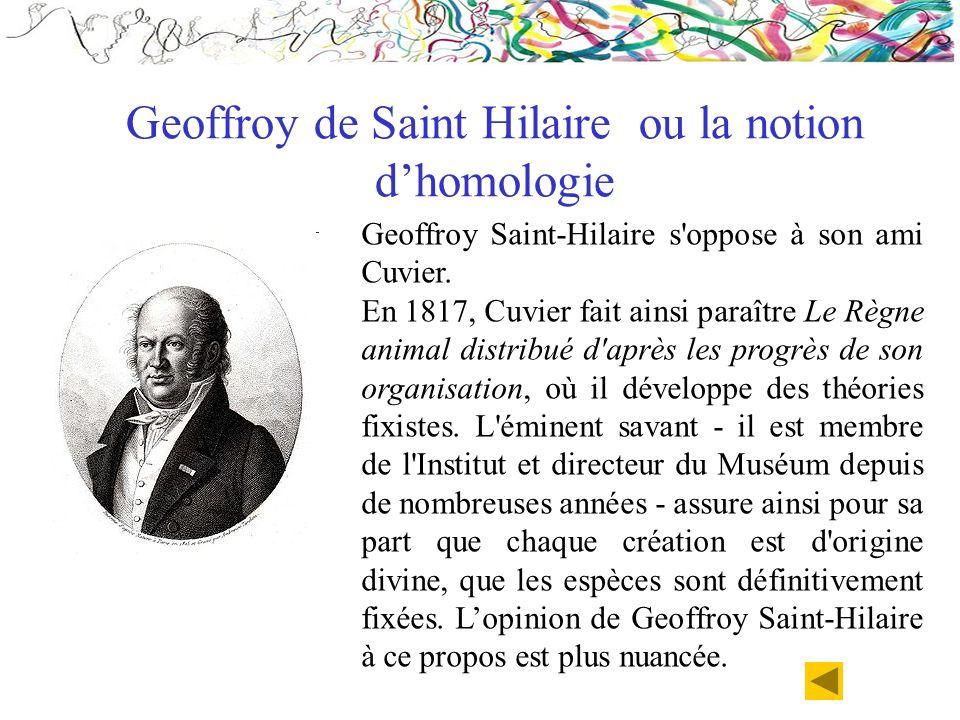 Geoffroy Saint-Hilaire s'oppose à son ami Cuvier. En 1817, Cuvier fait ainsi paraître Le Règne animal distribué d'après les progrès de son organisatio