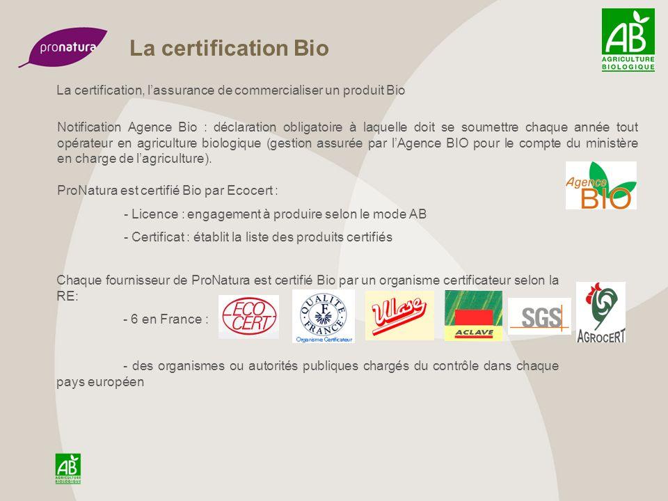 La certification bio : les produits dimportation Pour les produits en provenance de pays tiers, une demande déquivalence est faite pour chaque produit et fournisseur correspondant auprès de lautorité compétente : en France auprès du ministère de lagriculture.