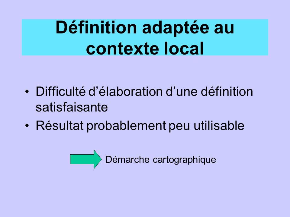 Définition adaptée au contexte local Difficulté délaboration dune définition satisfaisante Résultat probablement peu utilisable Démarche cartographique