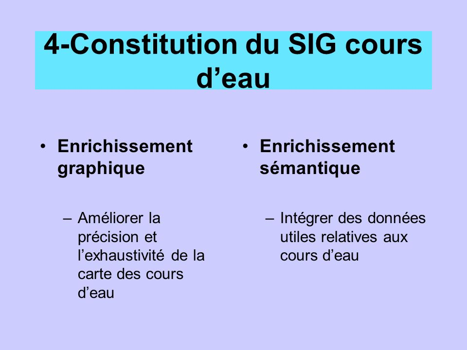 4-Constitution du SIG cours deau Enrichissement graphique –Améliorer la précision et lexhaustivité de la carte des cours deau Enrichissement sémantique –Intégrer des données utiles relatives aux cours deau