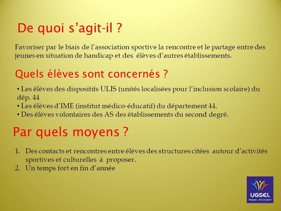 Projet de Mise en place Septembre 2013 : Communication auprès des coordinateurs des ULIS, dIME et des professeurs dE.P.S.