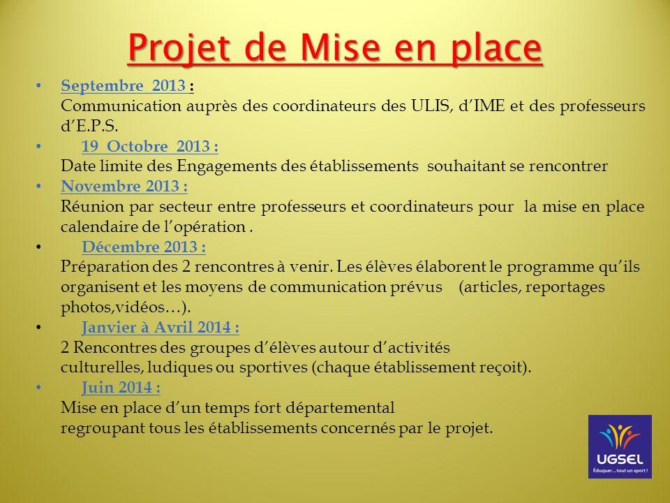 Projet de Mise en place Septembre 2013 : Communication auprès des coordinateurs des ULIS, dIME et des professeurs dE.P.S. 19 Octobre 2013 : Date limit