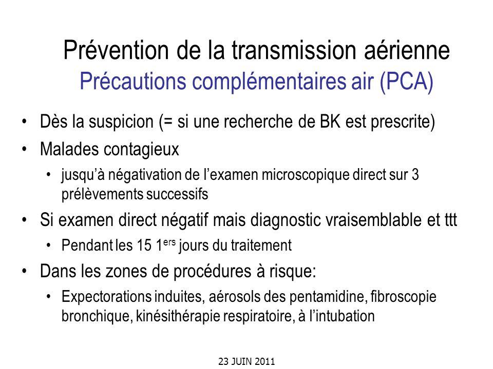 23 JUIN 2011 Prévention de la transmission aérienne Précautions complémentaires air (PCA) Dès la suspicion (= si une recherche de BK est prescrite) Ma