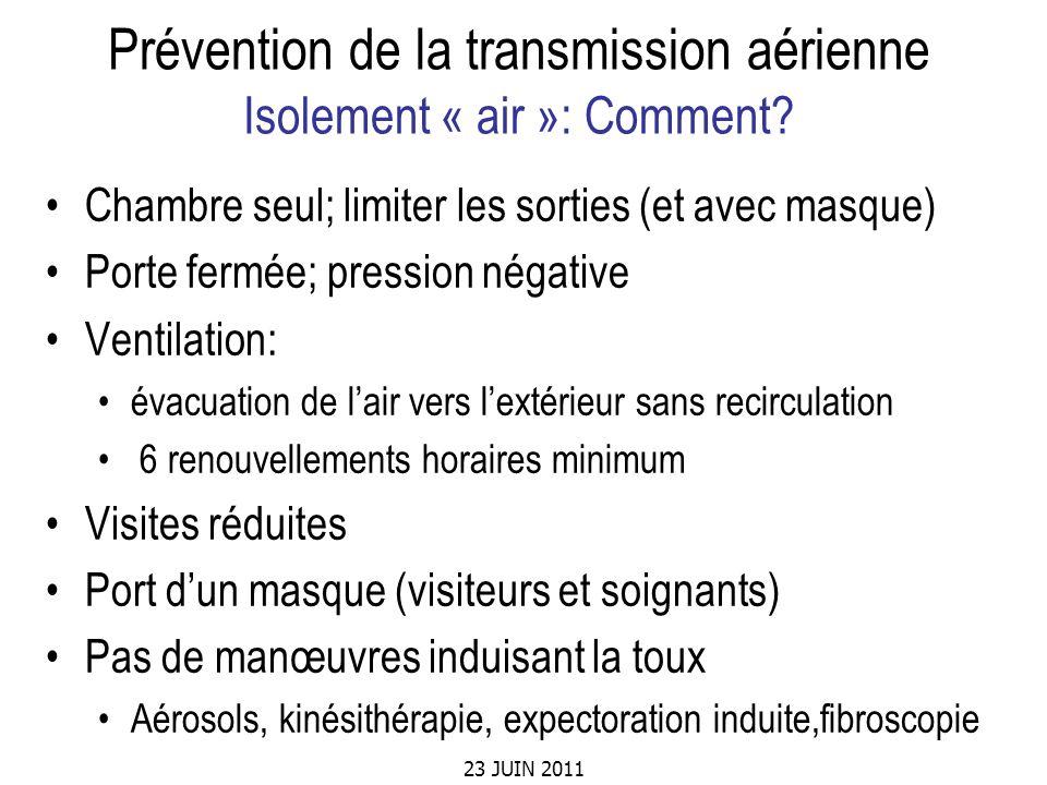 23 JUIN 2011 Prévention de la transmission aérienne Isolement « air »: Comment? Chambre seul; limiter les sorties (et avec masque) Porte fermée; press