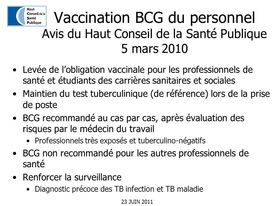23 JUIN 2011 Vaccination BCG du personnel Avis du Haut Conseil de la Santé Publique 5 mars 2010 Levée de lobligation vaccinale pour les professionnels