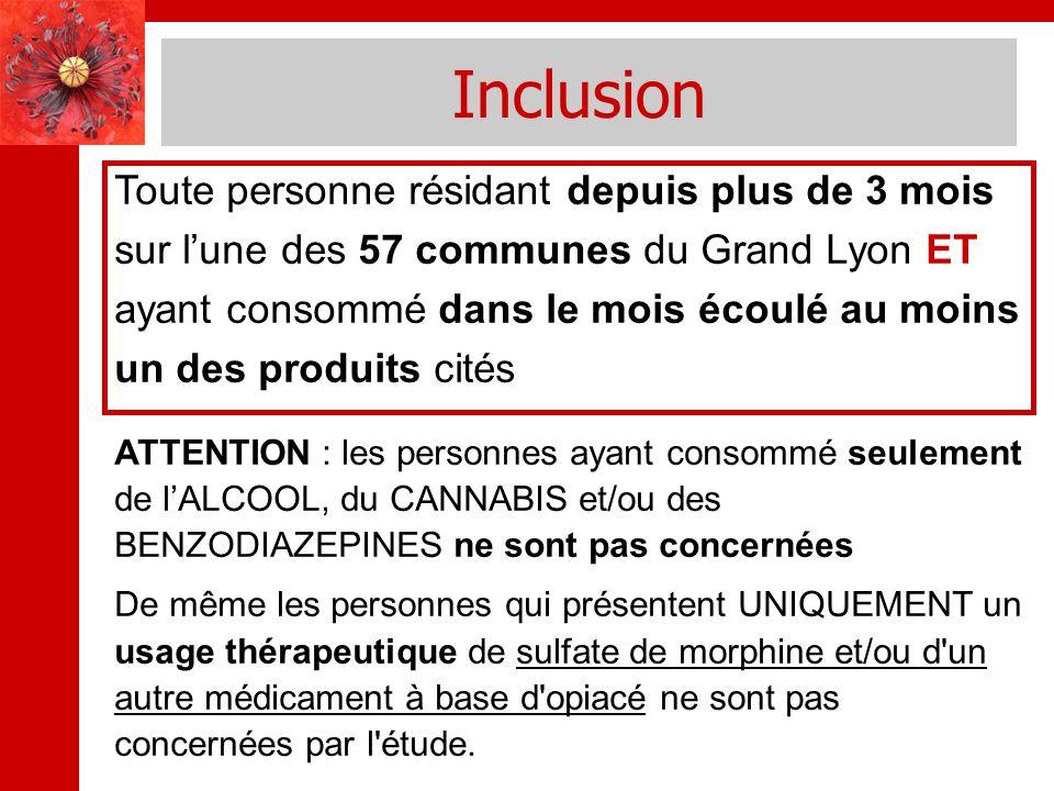 Inclusion Toute personne résidant depuis plus de 3 mois sur lune des 57 communes du Grand Lyon ET ayant consommé dans le mois écoulé au moins un des p