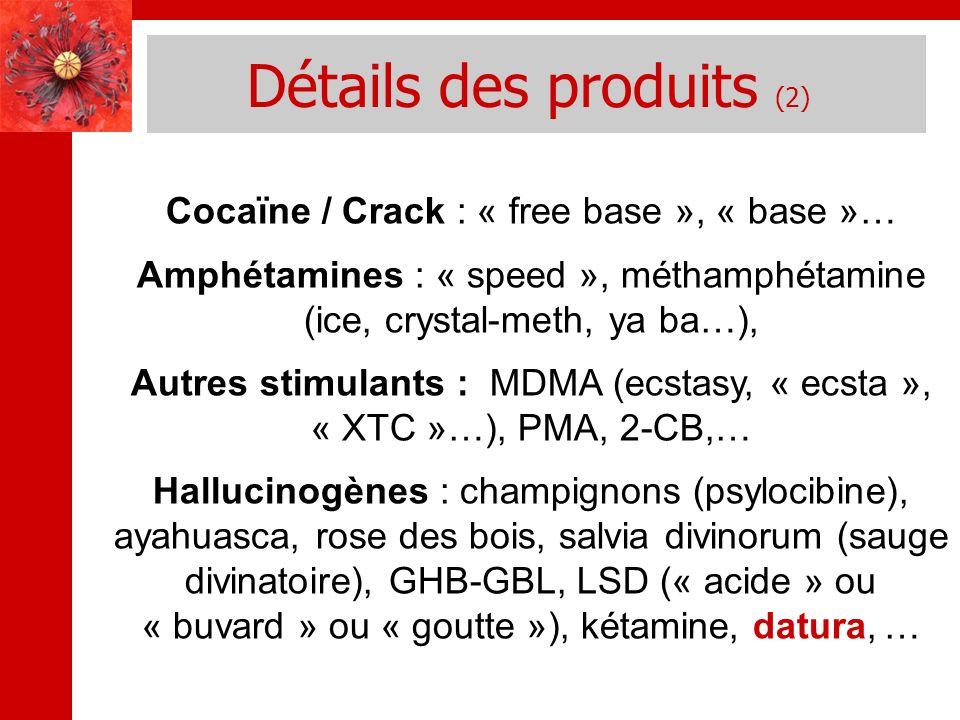 Détails des produits (2) Cocaïne / Crack : « free base », « base »… Amphétamines : « speed », méthamphétamine (ice, crystal-meth, ya ba…), Autres stim