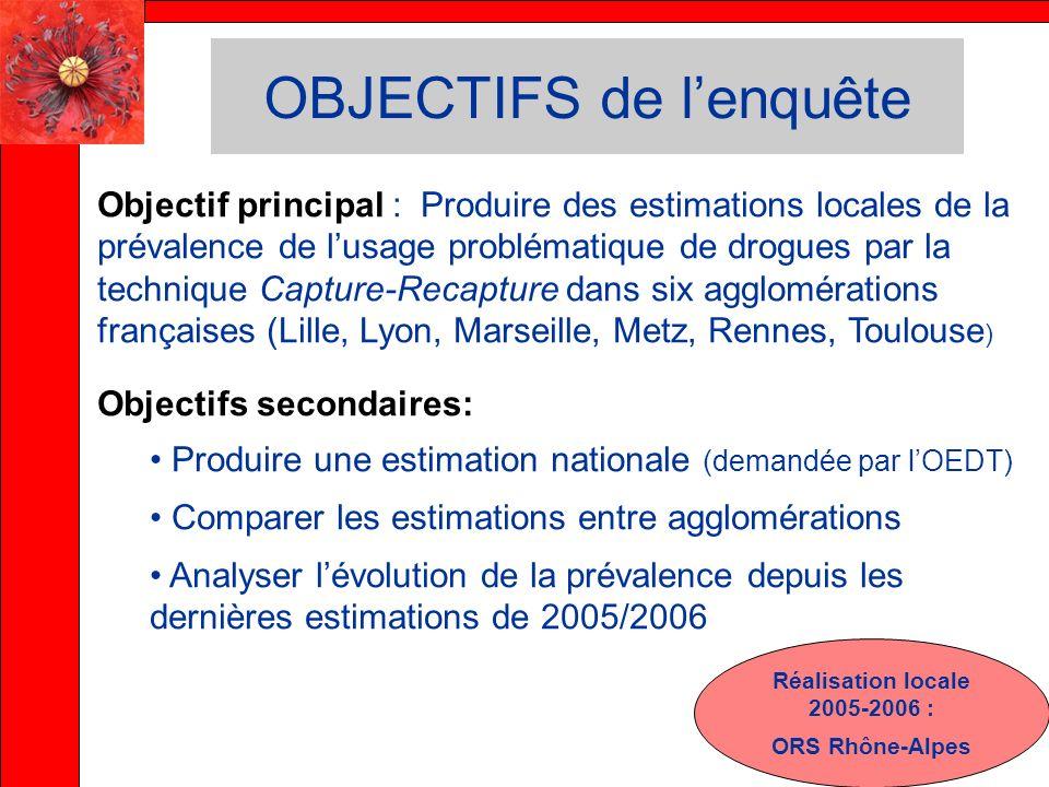 OBJECTIFS de lenquête Objectif principal : Produire des estimations locales de la prévalence de lusage problématique de drogues par la technique Captu