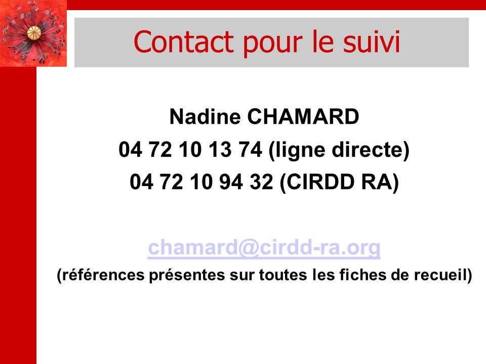 Contact pour le suivi Nadine CHAMARD 04 72 10 13 74 (ligne directe) 04 72 10 94 32 (CIRDD RA) chamard@cirdd-ra.org (références présentes sur toutes les fiches de recueil)