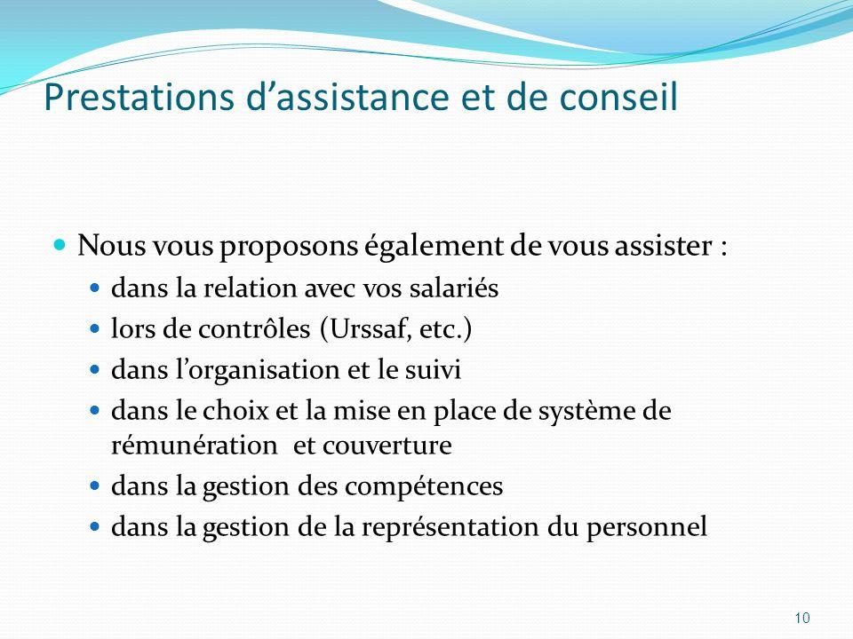 Prestations dassistance et de conseil Nous vous proposons également de vous assister : dans la relation avec vos salariés lors de contrôles (Urssaf, e