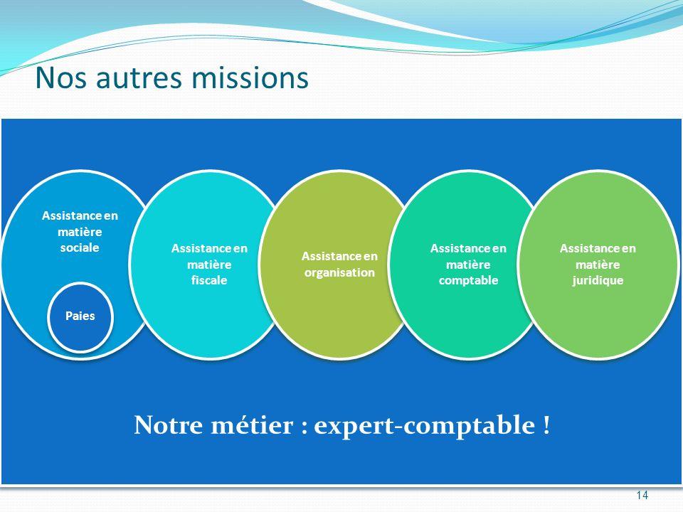 Notre métier : expert-comptable ! Nos autres missions 14 Assistance en matière sociale Paies Assistance en matière fiscale Assistance en organisation