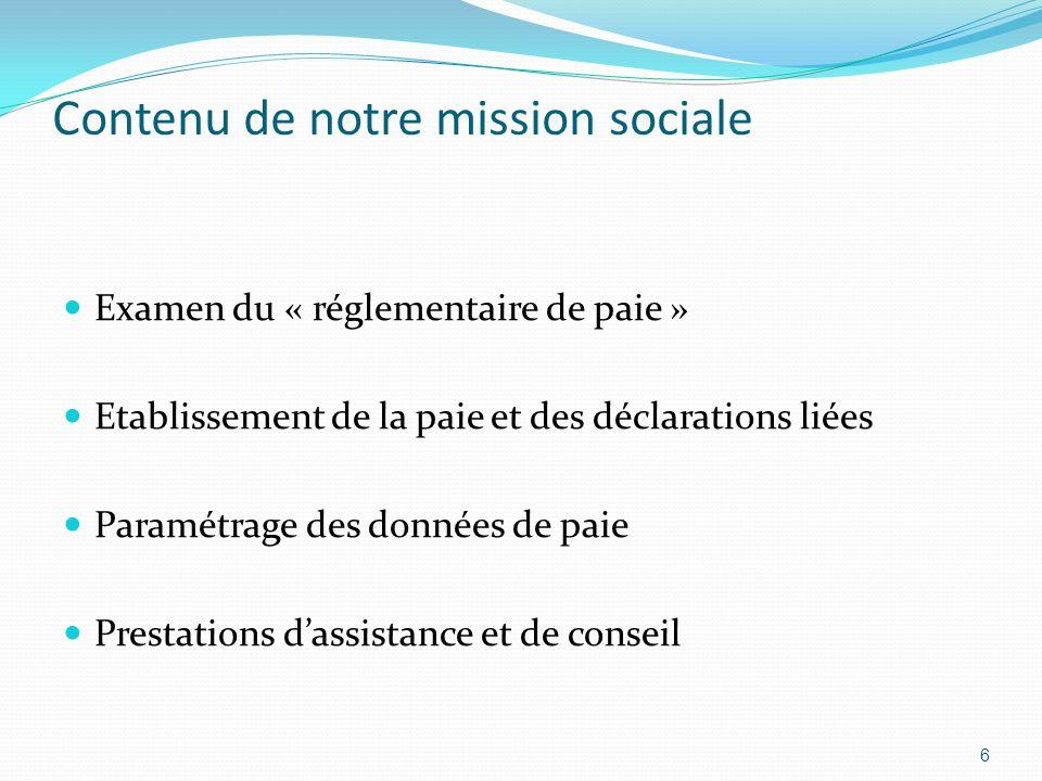 Contenu de notre mission sociale Examen du « réglementaire de paie » Etablissement de la paie et des déclarations liées Paramétrage des données de pai