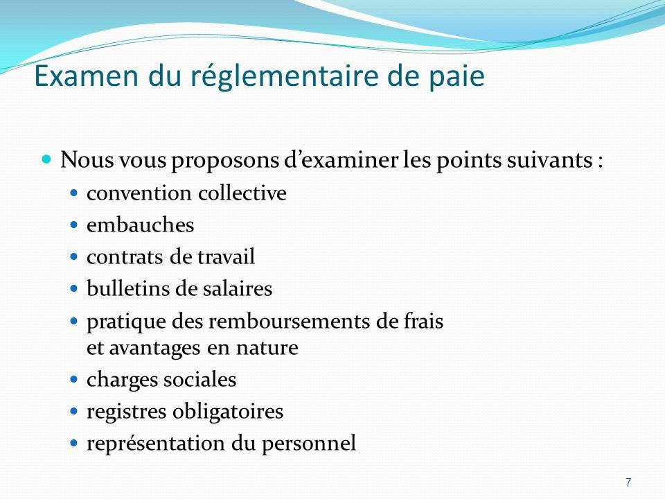 Examen du réglementaire de paie Nous vous proposons dexaminer les points suivants : convention collective embauches contrats de travail bulletins de s